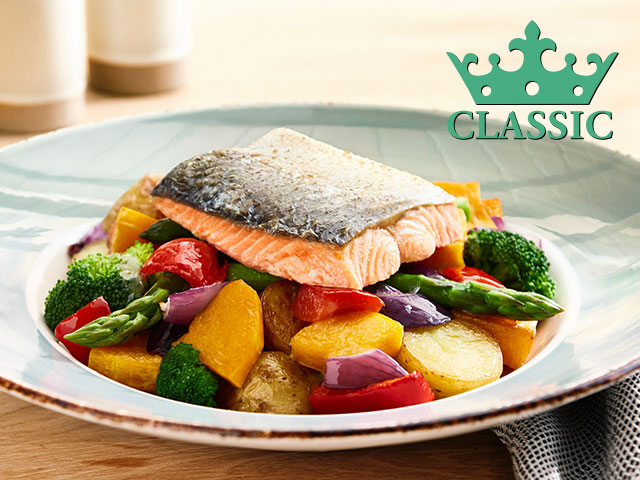 GRILLED SALMON, WITH ROASTED VEGETABLES